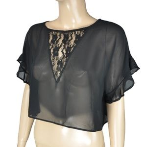 Robin K Black Floral Lace Sheer Crop Top Shirt